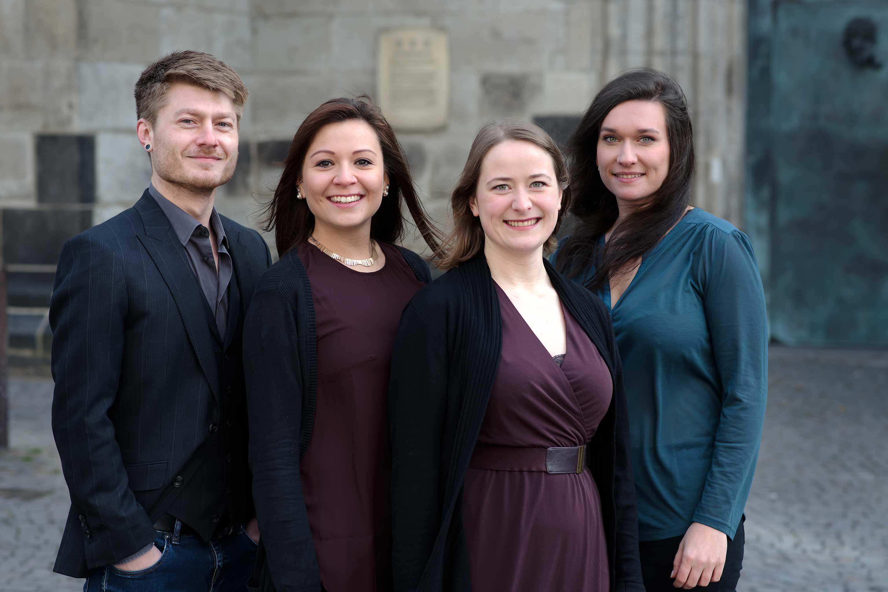 Die ersten Akademisten der Chorakademie (v.l.n.r.): Nicolas Schouler, Anna Lucia Struck, Julia Speis und Boshana Milkov | Foto: Christian Palm